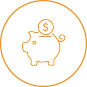 An orange outlined drawing of a piggy bank with a coin on top.